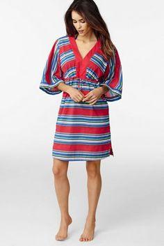 075641c907 Women's Cotton Mid-length Caftan Cover-up - Schooner Stripe from Lands' End