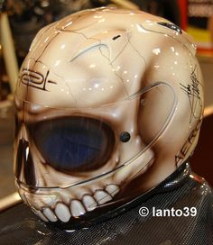 Skull Helmet, possible next purchase for the bike this Spring/Summer. Custom Motorcycle Helmets, Custom Helmets, Motorcycle Gear, Biker Helmets, Skull Helmet, Helmet Head, Helmet Paint, Helmet Design, Cool Motorcycles