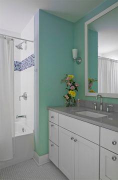 Decoração // Banheiro // Simples // Charmoso // Cores: Verde e Branco // :)