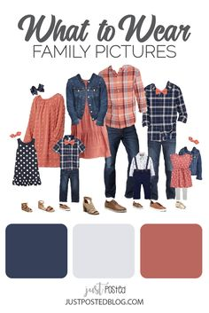 Ideas for What to Wear for family pictures: This color combination of coral and navy is so fun! This link includes 8 dif Fall Family Picture Outfits, Spring Family Pictures, Family Picture Colors, Family Portrait Outfits, Family Photos What To Wear, Winter Family Photos, Family Outfits, Family Picture Clothes, Outfits For Family Pictures