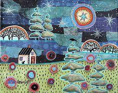 Lake Cottages 14X11 inch Original Canvas Painting Abstract Folk Art Prim Karla G | eBay