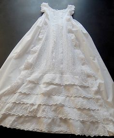 French Antique Handmade Christening Gown by Vintagefrenchlinens