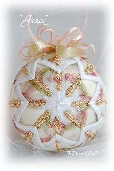 Quilted Victorian Christmas Ornaments / The Ornament Girl Victorian Christmas Ornaments, Quilted Christmas Ornaments, Christmas Cover, Christmas Favors, Colorful Christmas Tree, Christmas Baubles, Christmas Crafts, Christmas Decorations, Folded Fabric Ornaments