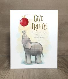 Generosity Elephant Print Elephant Print, Baby Elephant, Young Ones, Playroom, Nursery, Teaching, Bird, Animal Prints, Illustration