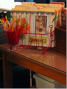 Dishrack recipe file folders and pencil holder