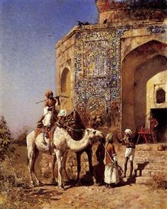 Old Blue Tiled Mosque, Outside of Delhi, India - Edwin Lord Weeks