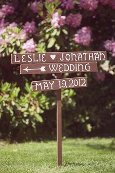 wood wedding sign- couple's name & date