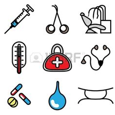 Medical Tools Icons Vector Set Cartoon Dinosaur, Drawing Challenge, Doodles, Clip Art, Drawings, Dentist Cake, Projects, Decorations, Icons