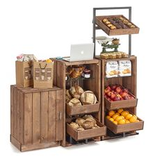 Combinations. illustrations and photos from the Artisan Crate Range, modular rustic display equipment for stores building naturally timber displays.