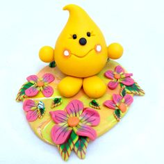 Spring Flower Parker Figurine  Polymer Clay by KatersAcres on Etsy