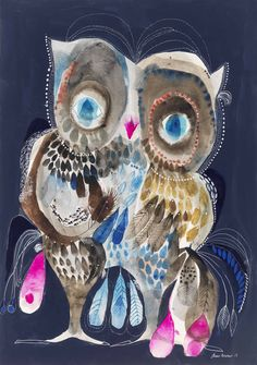Art Education Lessons, Whimsical Owl, Birds And The Bees, Owl Art, Paper Frames, Cute Owl, Graphic Illustration, Illustrations, Limited Edition Prints