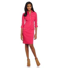 Jones New York Zip-Front Patch Pocket Shirt Dress | Dillards.com