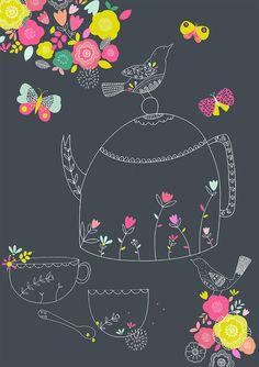 Teapot Pattern by Susan Driscoll. Tea Illustration, Pattern Illustration, Fabric Patterns, Print Patterns, Circle Drawing, Tea Art, Floral Illustrations, Surface Pattern Design, Bird Art