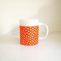 Ceramic Orange Scoop Mug by lovebugkiko on Etsy