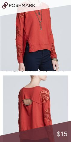 Free people jersey sunset top **please read** Exact color more of a orange rust. Previously loved! No noticeable flaws! Beautiful condition! Free People Tops