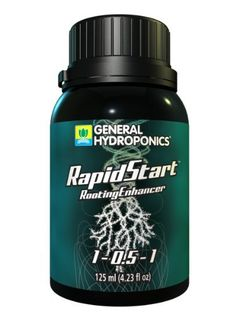 General Hydroponics Rapid Start by General Hydroponics. $31.18. Brand: General Hydroponics. - Volume: 275 ml. - Part No.: 726855. - N-P-K Ratio: 1-0.5-1. Rapidstart enhances your growing experience by delivering a powerful blend of premium plant extracts, amino acids, and nutrients generating explosive root growth. Using Rapidstart stimulates prolific root branching and development of fine root hairs that increase nutrient uptake and grow healthier, whiter roots. Using...