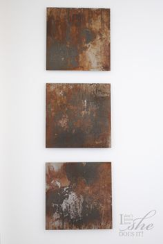 Very cool idea.  Metal sheets distressed with lemon, salt and vinegar... looks like a great piece for the wall