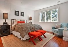 Architecture, Appealing Home Restoration In San Francisco Featuring Bedroom Interior Design With Carpet, Laminate Floor , Red Chair, Sofa And Bedside Table: Fascinating Two Unit Home Restoration in California with New Interior