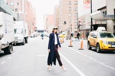 navy blue trench coat and brown pants #spring