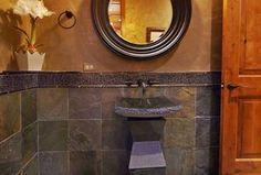Rustic Powder Room with specialty door, MSI San Rio Rustic Slate Tile, Powder room, Vessel Sink