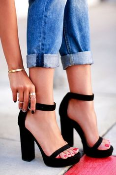 Perfect shoe style for boyfriend jeans- chunky heel and open toe. Plus the cute ankle strap compliments the rolled hem
