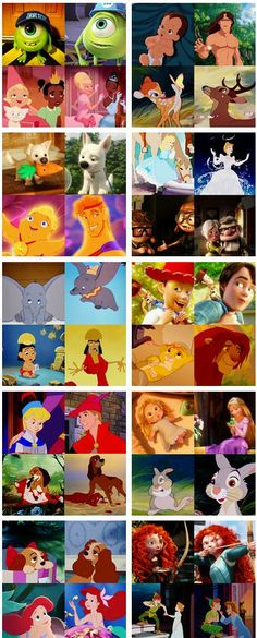 Disney characters young and older