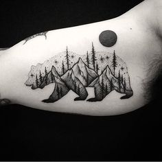 bw bear forest tattoo idea on the arm