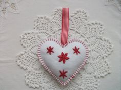 Felt Valentine Heart Handmade White Red by CrownlandCottage