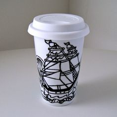 Father's Day Gift Ceramic Travel Mug Ship Tattoo Nautical Sailor Waves Turquoise black white painted scales scallops by sewZinski $30