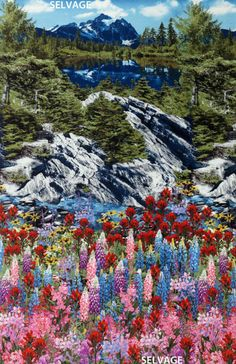 """Botanical Trail Mountain Panel 24"""" x 44"""" Cotton Fabric by Timeless Treasures"""