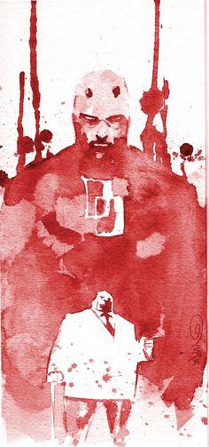 Daredevil and Kingpin Marvel Comics Art by Dustin Nguyen