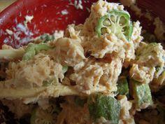 Mizuna, tuna and okra salad with tamari dressing by Umamimart, via Flickr