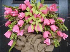 Tulip Burlap Wreath
