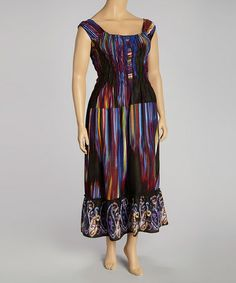 Another great find on #zulily! Plum & Black Abstract Maxi Dress - Plus #zulilyfinds