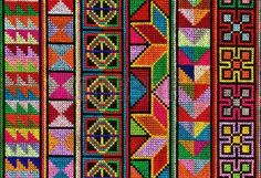 Cross stitch pattern of Hill tribe people in Northern Thailand  Stock Photo