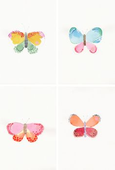 Butterflies ~ these fun watercolor butterflies ~ gave me the idea to make finger paint butterflies with the wee one.