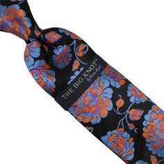 Steven Land Big Knot Black Blue Orange Purple  Floral Silk Neck Tie