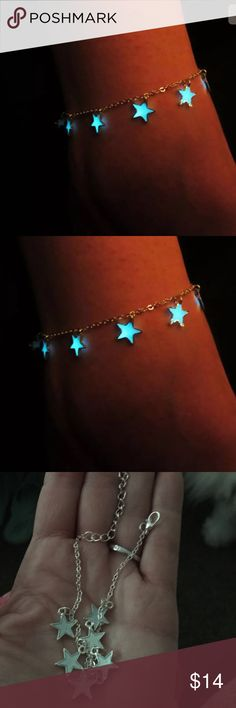 GLOW IN THE DARK STAR SILVER ANKLET, NWT  Jewelry