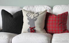 Three different DIY Christmas pillows! So cheery and festive!