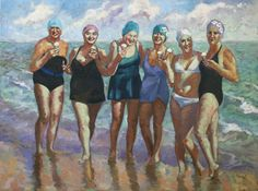 Ice Cream on the Beach - Coastal Artwork Seaside Art, Look Plus, Bathing Beauties, Beach Scenes, Beach Pictures, Figure Painting, Oeuvre D'art, Painting Inspiration, Female Art