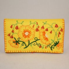 Embroidered Felt Card purse wallet button closure by Lynwoodcrafts, £15.00
