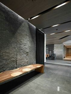 1 Cladding Design, Stone Cladding, Living Room Wall Designs, Stone Wall Design, Hotel Lobby Design, Stone Interior, Japanese Interior, Interior Decorating, Interior Design