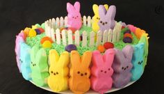 Radical Rainbow Peeps Cake. You know it's Easter when all the little Peeps come out of hiding.