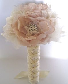 Bridesmaid Fabric Flower Wedding Bouquet In Champagne and Ivory with Faux Pearl Accents and Lace... Custom Made to Your Colors