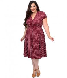 Style Dress: Plus Size Style Raspberry & Cream Polka Dot Harriet Swing Dress 1940s Fashion Dresses, 1940s Outfits, 1940s Dresses, Vintage Fashion, Fashion Outfits, Pin Up Dresses, Plus Size Dresses, Dresses For Sale, Dresses Uk