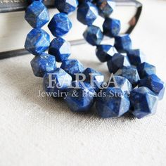 Faceted Lapis Lazuli beads 16 inch inch strand blue by FARRAgem, $15.00
