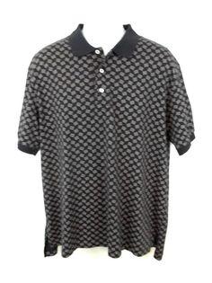 Ralph Lauren Shirt Black Geometric 100% Cotton Short Sleeve Polo Mens XL #RalphLauren #PoloRugby