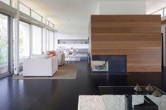salon et cheminée - Riverview House  Studio Dwell Architects -  Wayne, Usa