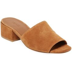 Vince Women's Rachelle-2 Suede Sandal - Light/Pastel Brown, Size 5 (€135) ❤ liked on Polyvore featuring shoes, sandals, brown, brown sandals, suede shoes, brown slip on shoes, mid-heel sandals and slip on sandals