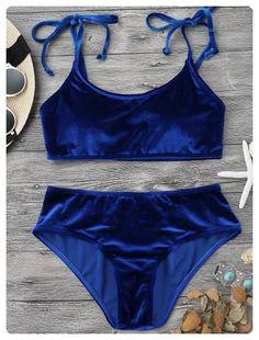 cf0f2e1baf2d0 Velvet Padded Bralette Bikini Set - Sapphire Blue - Sapphire Blue S